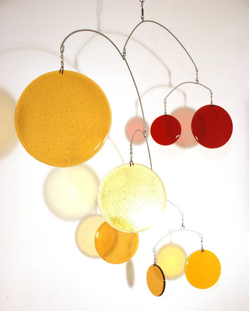 Large Glass Mobile in Gold and Red by Leah Pellegrini contemporary-mobiles