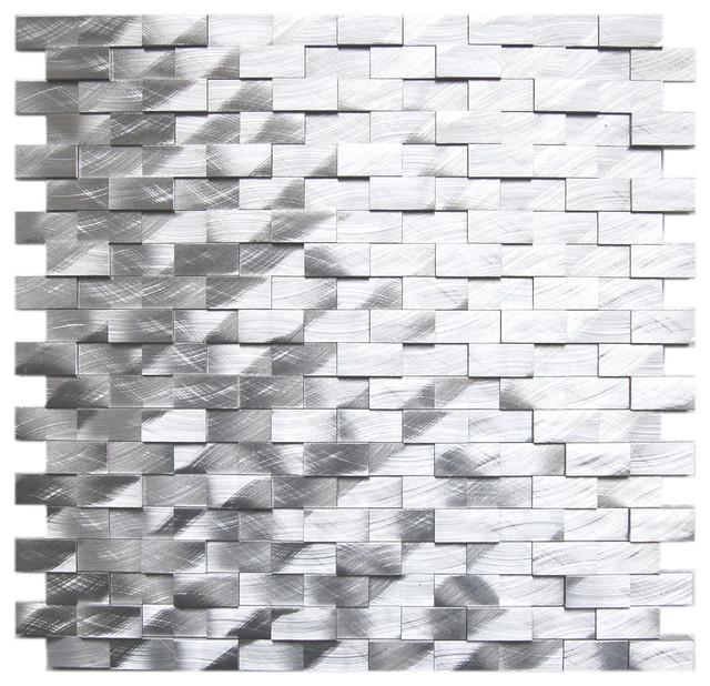 Sample Black Gray Pattern Aluminum Stainless Mosaic Tile: 3D Raised Brick Pattern Aluminum Mosaic Tile, Silver