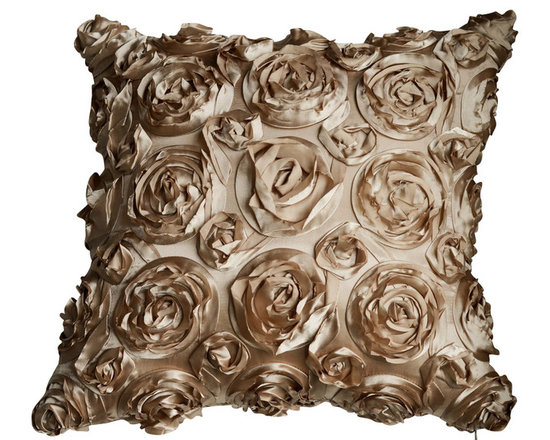 KH Window Fashions, Inc. - Texture Rose Pillow- Champagne, With Insert - This textured rose pillow adds a pizazz to any space. The texture is exquisite.