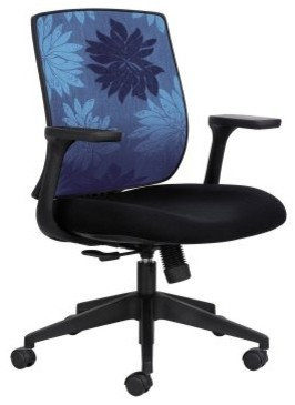 Safco Bliss Blue Print Mid Back Chair modern-living-room-chairs