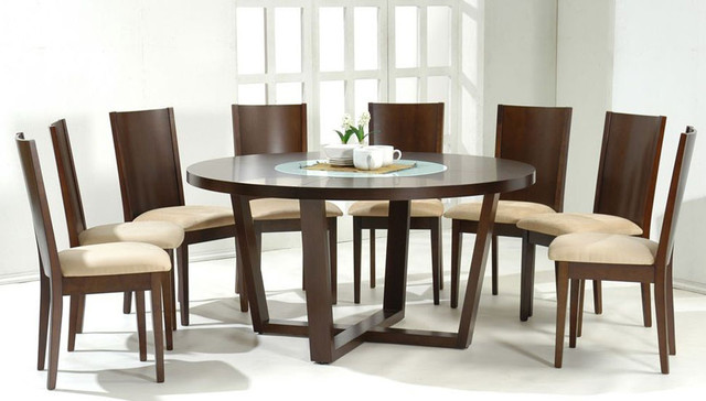 Stylish Round Wood And Glass Top Table And Four Chairs