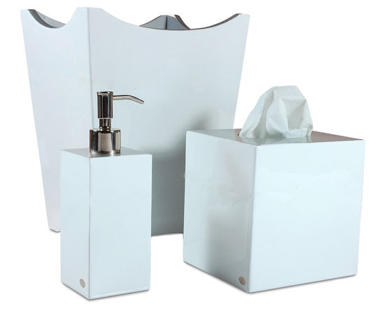 Essentials Pure Bathroom Set - Incredibly versatile and chic, these bathroom accessories are available in a multitude of hues and will enhance the current design scheme in any bath or powder room. With their classic yet modern shapes, purchase all three items in this set to up the style factor in a simple, chic way.
