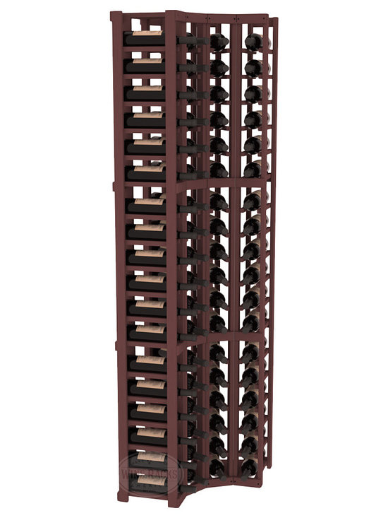 Wine Racks America® - 4 Column Wine Cellar Corner Kit in Pine, Walnut Stain - Get the most storage in your wine cellar with unique corner wine racks. We construct every rack to our industry-leading standards and back them up with our lifetime warranty. Designed with emphasis on functionality, these corner racks fit seamlessly into our modular line of wine racks.