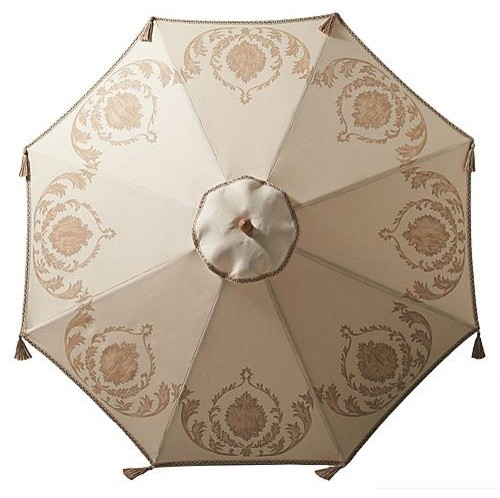Damask Hand-painted Umbrella - Frontgate traditional-outdoor-umbrellas