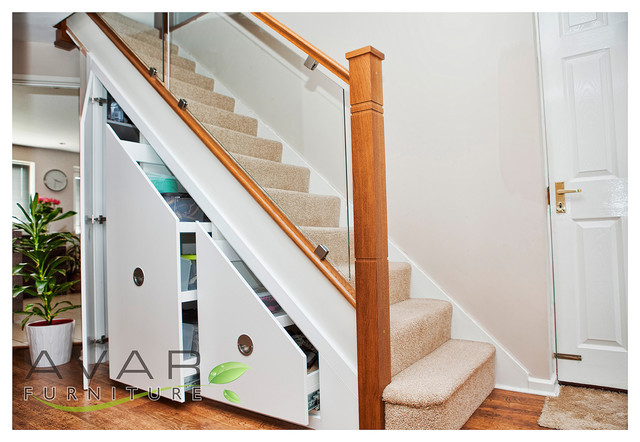 Under Stair Storage With 4 Level Drawers And Shelf With White Wood ...