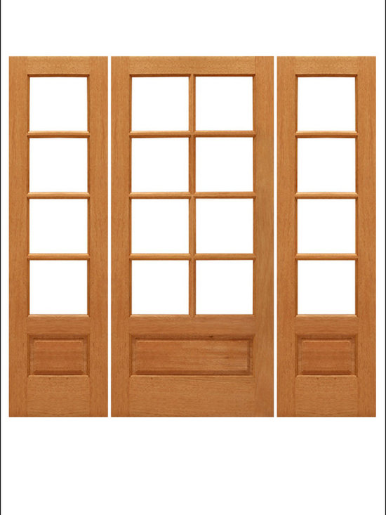 AAW Inc. - French Doors Model # Mahogany 8 Lite PB - Traditional Styled French doors in Mahogany.  These doors are stainable and paintable and come in multiple sizes in options with including Low-E Glass.  These doors can be used as interior (available under our Interior Glass Doors)  or exterior doors.