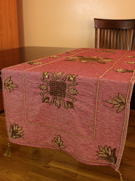 """Elegant Table Runners - Grape Purple color. """"Medieval Royalty"""" table runner. Hand crafted beautifully in India."""