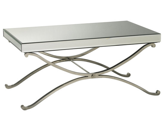 Kathy Kuo Home - Contemporary Vogue Mirror Coffee Table - This chic mirrored table is a hopeless romantic - so easy to fall for!  With gentle curves, spare lines and a generous helping of mirrored glass and chrome this modern coffee table adds instant Hollywood Regency style to any room.
