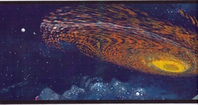 Black Outer Space Wallpaper Border traditional-wallpaper