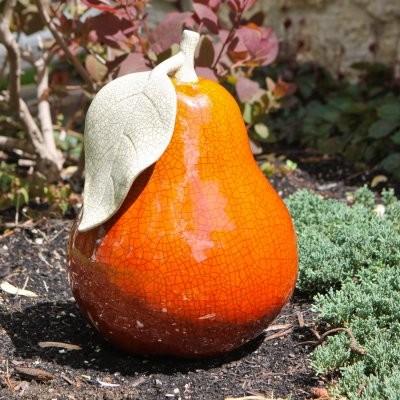 Alpine 14 in. Orange Ceramic Pear modern-garden-sculptures