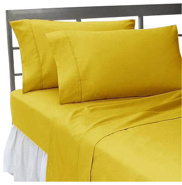400tc Solid Gold Twin Xl Fitted Sheet 2 Pillowcases