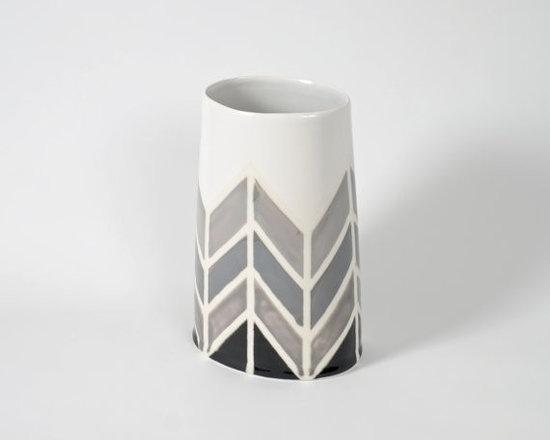 Herringbone Gray Oval Vase by Dahlhaus -