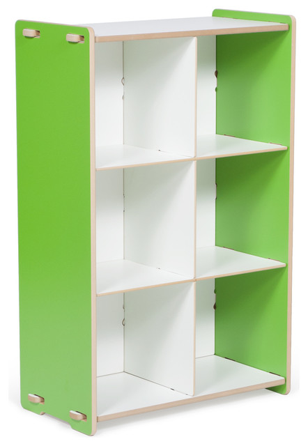 6 Cubby Shelf, Green/White contemporary-toy-storage