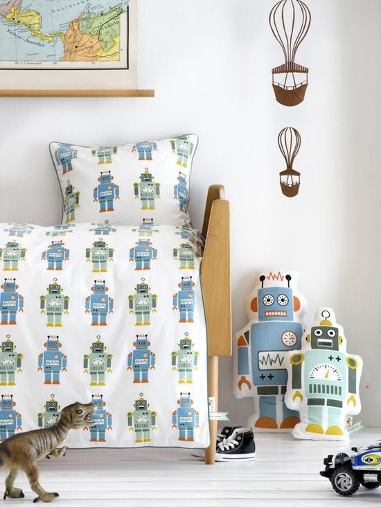 Ferm Living Robots Wallpaper - Ferm Living's Wallpaper is graphic & whimsical adding character, charm and personality to any room. Wallpaper has a striking effect and will without a doubt turn your room into a sanctuary.