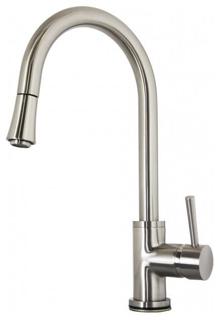 brushed nickel single hole kitchen faucet modern