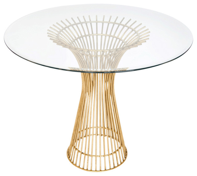 Worlds Away Gold Leaf Iron Dining Table Base With 30Dia Glass Top POWELL 30 Contemporary