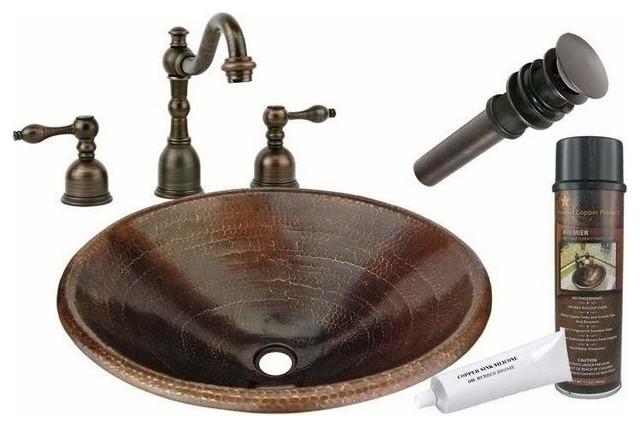 Oval Drop In Copper Sink W Orb Faucet Rustic Bathroom Sinks By Plfixtures