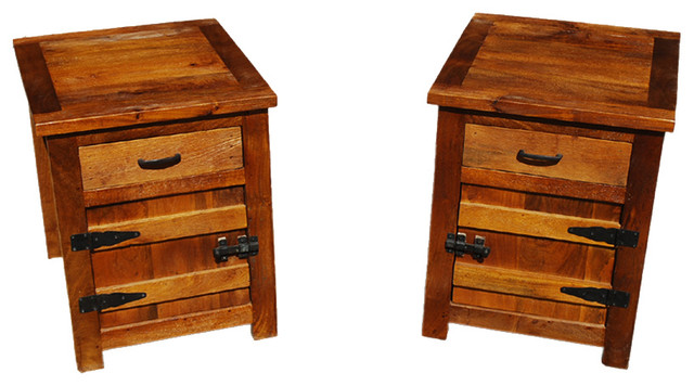 Solid Teak Wood Bedside Box Night Stand End Table Twin Set