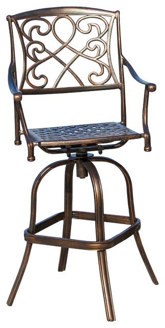 Sedalia Outdoor Cast Aluminum Bar Stool contemporary-outdoor-chairs