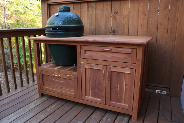 Outdoor grill station for green egg traditional for Outdoor grill cabinet plans