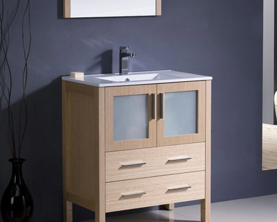 Fresca - Fresca Torino 30 Light Oak Modern Bathroom Vanity w/ Integrated Sink - Featuring a Light Oak finish and frosted glass panels, the Torino 30 vanity from Fresca will look great in both modern and traditional bathrooms. With a robust and durable construction, this vanity provides a smart and practical storage solution for toiletries and bathroom linen. This vanity includes the integrated ceramic sink, which provides a neat finish. Torino Bathroom Vanity Details:   Dimensions:30W x 18 1/8D x 33 3/4H Material: Plywood with Veneer, integrated ceramic sink Finish: Light Oak Please note: faucet not included