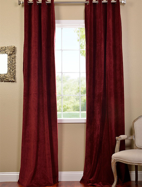 Burgundy Grommet Velvet Blackout Curtain Contemporary Curtains San Francisco By Half