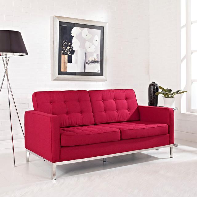 Florence Style Red Wool Loft Loveseat midcentury-love-seats