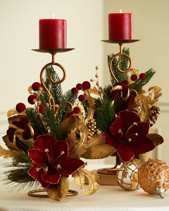 Two Burgundy & Gold Candleholders traditional holiday decorations
