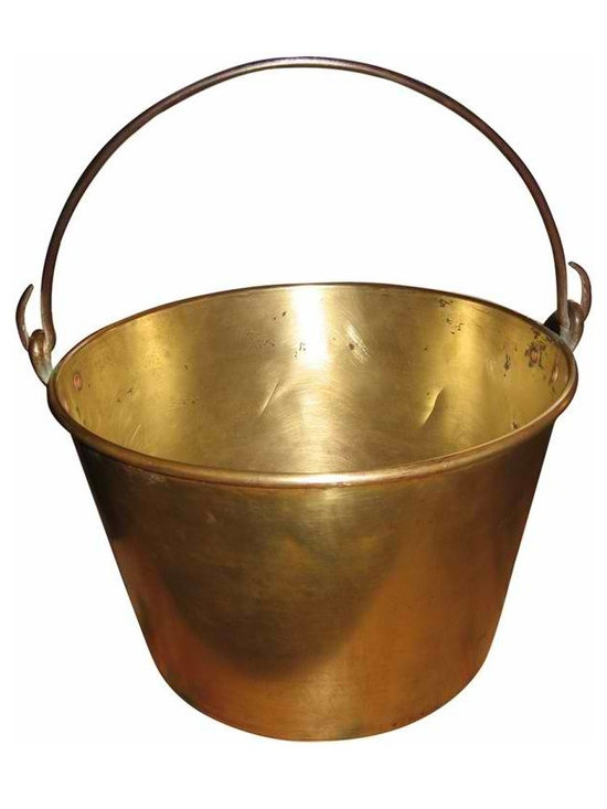 Solid Brass Bucket - This vintage solid brass bucket, with steel handle, would be great for so many things, guest towells in your powder room, mail on your desk, a plant in any room, or even a great bottle of champagne.