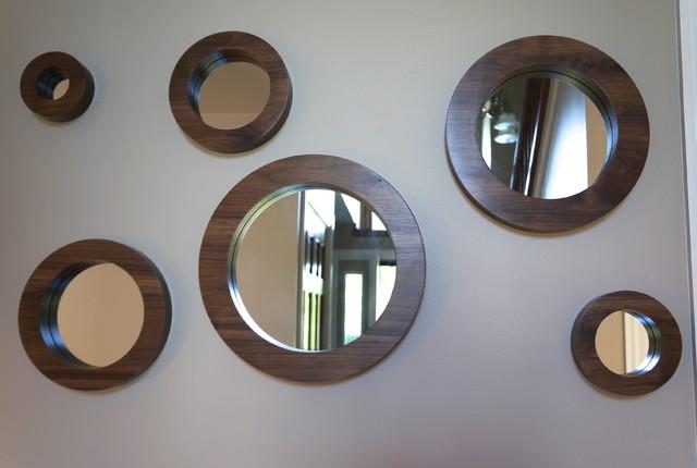 Porthole Mirror Set Six Solid Walnut Round Wall Mirrors