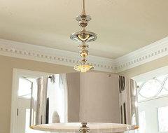Global Views Turned Pendant Chandelier in Nickel-Large traditional-chandeliers
