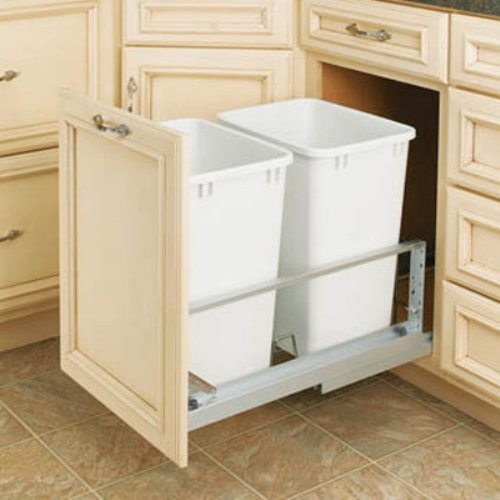 The Rev-A-Shelf Double Soft Close Pull-Out 35-Quart Trash Can provides twice as contemporary-trash-cans