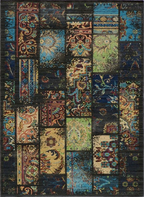 "Contemporary Vintage 2'7""x4'7"" Rectangle Charcoal Area Rug eclectic-rugs"