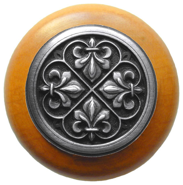 Fleur-de-Lis Maple Wood Knob (antique pewter) traditional-cabinet-and-drawer-knobs