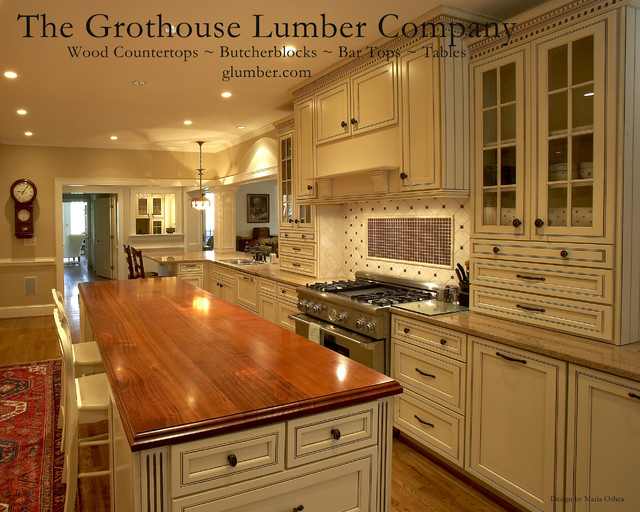 grothouse brazilian cherry wood countertop island top traditional kitchen countertops