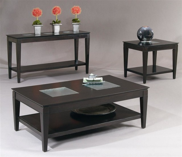 3 Pc Living Room Table Set In Dark Cappuccino