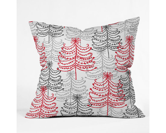 DENY Designs - DENY Designs Rachael Taylor Doodle Trees Throw Pillow - Wanna transform a serious room into a fun, inviting space? Looking to complete a room full of solids with a unique print? Need to add a pop of color to your dull, lackluster space? Accomplish all of the above with one simple, yet powerful home accessory we like to call the DENY Throw Pillow! Available in four sizes, our throw pillow is made from a medium weight woven polyester with a hidden zipper and removable bun insert.