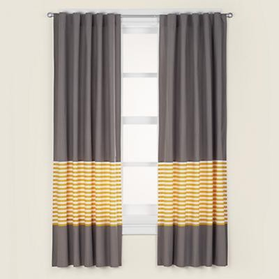 Kids Grey & Yellow Curtain Panels modern kids decor