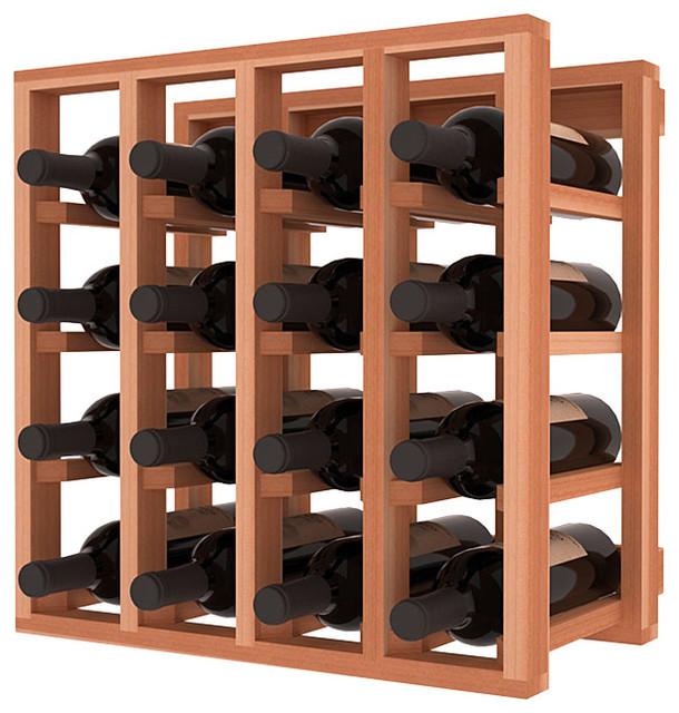 Lattice Stacking Wine Cubicle in Redwood traditional-wine-racks