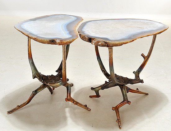 Rare Hand Sculptured Bronze And Agate Cocktail Tables eclectic side tables and accent tables