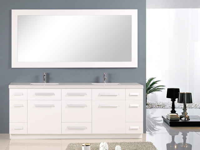 84 Moscony Double Sink Vanity White J84 Ds W Modern Bathroom Vanities And Sink Consoles