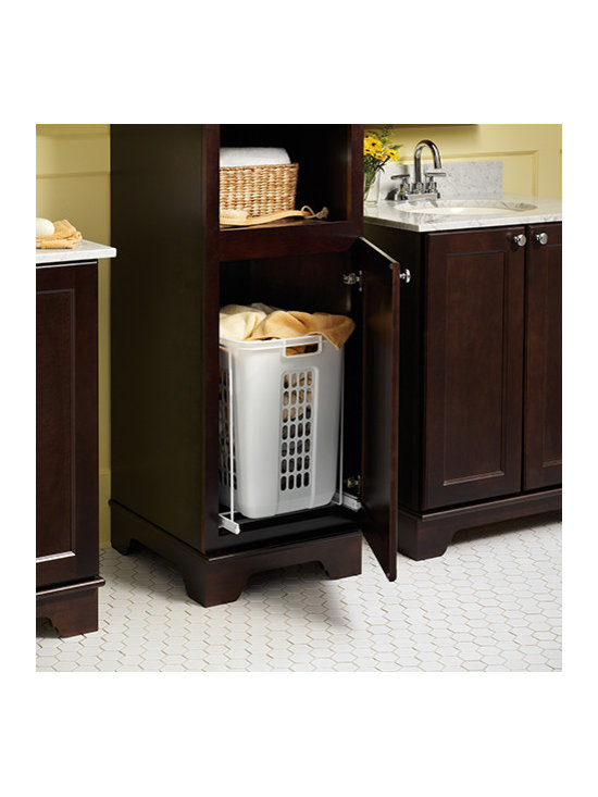 Laundry Hamper Pull Out - Hamper keeps dirty towels and linens out of sight until laundry day.