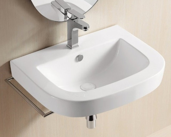 "Caracalla - Wall Mounted or Vessel White Ceramic Sink with Curved Front - Square white ceramic bathroom sink designed by Caracalla in Italy. Contemporary wall mounted or above counter vessel sink has rounded front corners and includes overflow and has a single faucet hole. Sink dimensions: 23.62"" (width), 7.68"" (height), 18.11"" (depth)"