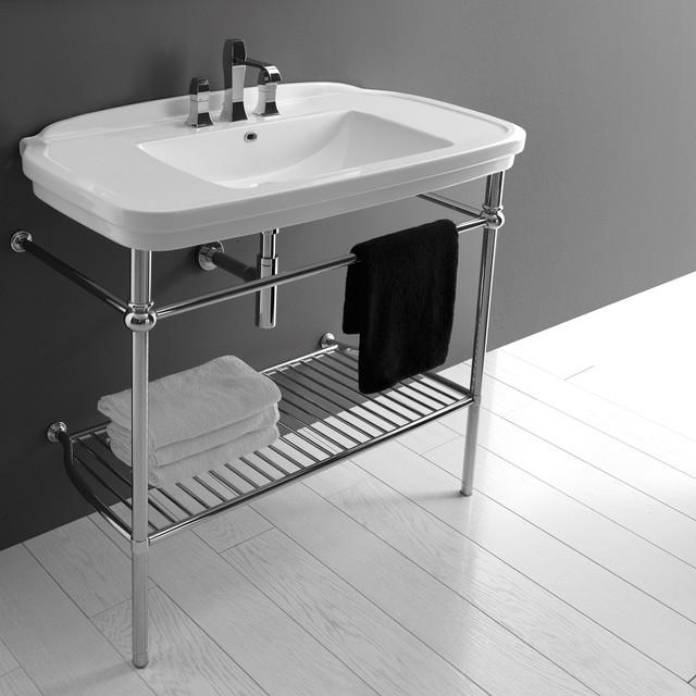 "Nova 100 Washstand in Ceramic White 39.4"" contemporary-bathroom-sinks"