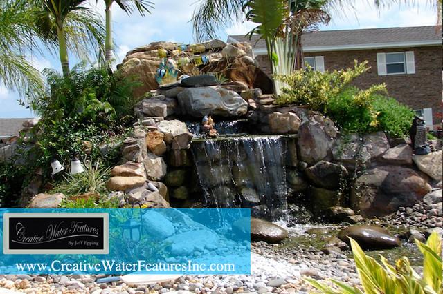 Large Backyard Waterfall With Pond Tropical Orlando