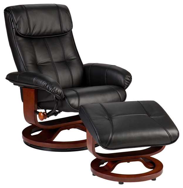 leather recliner and ottoman black contemporary living room chairs