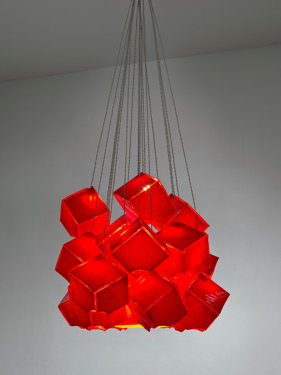 Cubes of art  - modern light fixture by GalileeLighting - Our beautiful cubes of art glass in a deep exotic red, are hand crafted by our artist and make a unique modern chandelier in white.