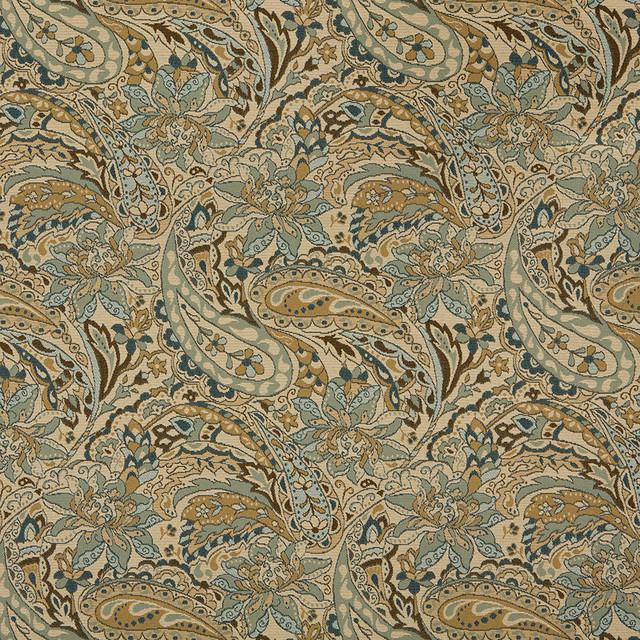 Tan Beige Brown Teal Floral Paisley Indoor Outdoor Upholstery Fabric By The Yard contemporary-upholstery-fabric