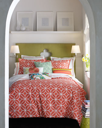 Orange and Green Bedroom traditional bedroom