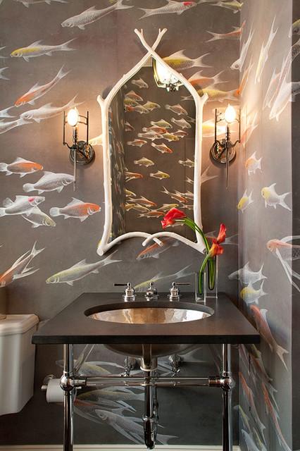 Degournay wallcovering fishes design in koi design for Koi wallpaper for walls